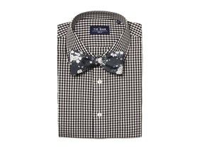 Black Gingham Shirt & Bow Tie Combo