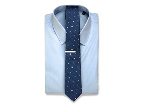 Blue Shirt & Dot Tie Combo