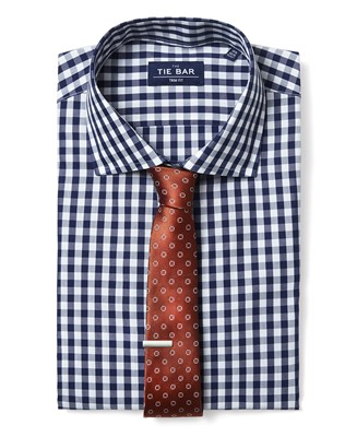 Gingham Shirt & Geometric Tie Combo