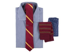 Petite Gingham Shirt & Striped Tie Combo