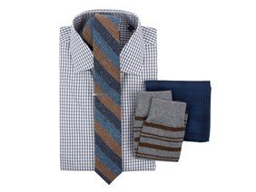 Bold Check Shirt & Striped Tie Combo
