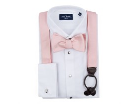 Blush Pink Bow Tie & Suspender Combo