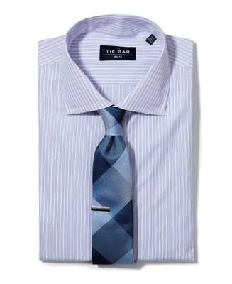 Double Stripe Shirt & Plaid Tie Combo