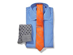 Gingham Shirt & Striped Tie Combo