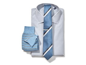 Grey Gingham Shirt & Striped Tie Combo