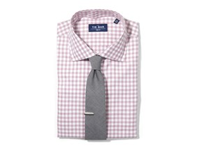 Heathered Gingham Shirt & Chambray Tie Combo