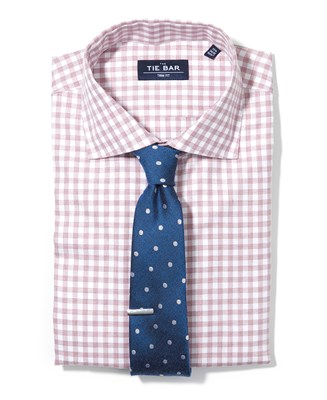 Heather Gingham Shirt & Dotted Tie Combo