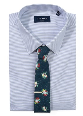 Horizontal Striped Shirt & Floral Tie Combo