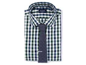 Large Gingham Shirt & Paisley Tie Combo