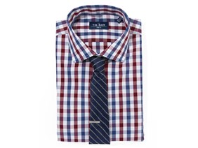 Large Gingham Shirt & Striped Tie Combo