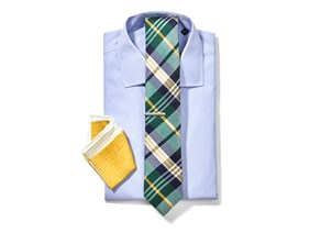 Striped Shirt & Plaid Tie Combo