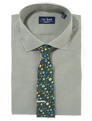 Petite Gingham Shirt & Floral Tie Combo