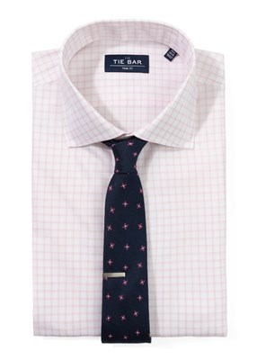 Pink Grid Shirt & Geo-Floral Tie Combo