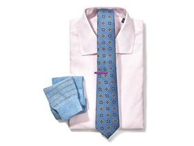 Pink Shirt & Medallion Tie Combo