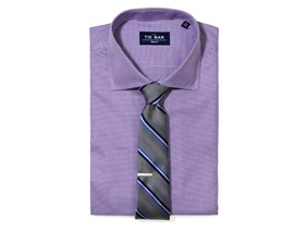 Purple Houndstooth Shirt & Striped Tie Combo