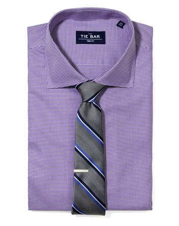 Purple Houndstooth Shirt Striped Tie Combo Purple Houndstooth