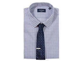 Business Tattersall Shirt & Dotted Tie Combo