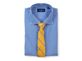 Gingham Shirt & Yellow Striped Tie Combo
