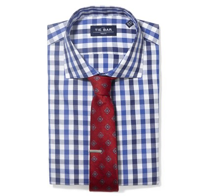 Large Gingham Shirt & Medallion Tie Combo