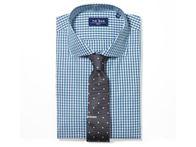 Checked Shirt & Geo Tie Combo