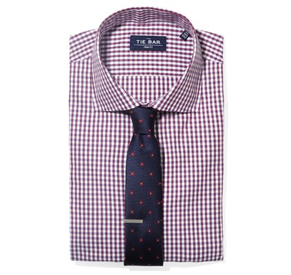Gingham Shirt & Floral Tie Combo