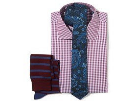 Shadow Gingham Shirt & Paisley Tie Combo