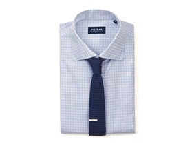 Slub Check Shirt & Knit Tie Combo