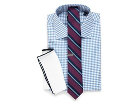 Textured Gingham Shirt & Striped Tie Combo