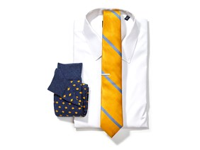 White Shirt & Yellow Striped Tie Combo