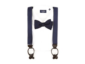 Blue Bow Tie & Suspender Combo
