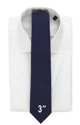 3 inch tie with a white shirt