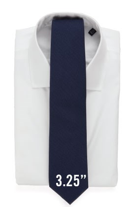 3.25 inch tie with a white shirt