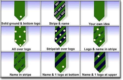 Suggested Ideas for Tie Designs - Shows nine generic ideas for a tie design