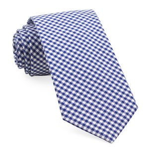 petite gingham royal blue ties