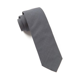 solid cotton metallic grey ties