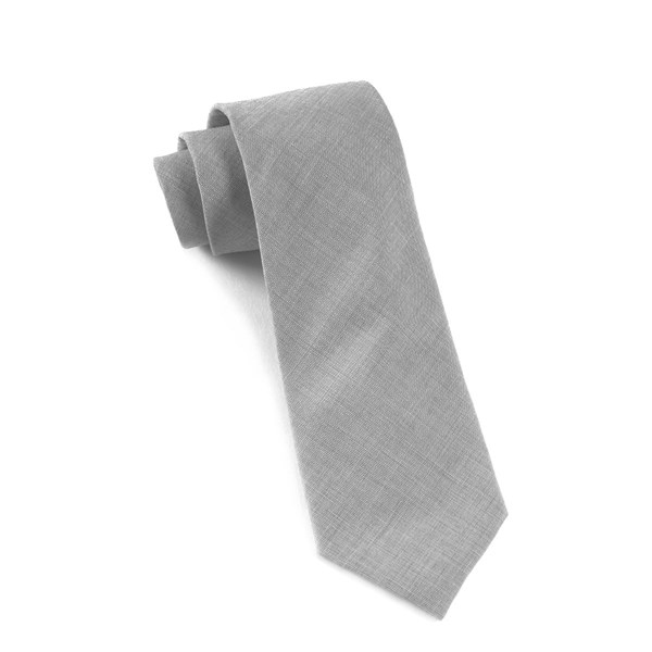 Light Grey Solid Cotton Tie
