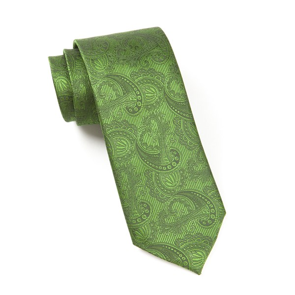 Clover Green Twill Paisley Tie