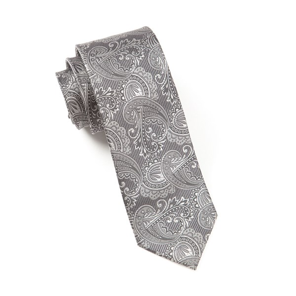 Charcoal Twill Paisley Tie