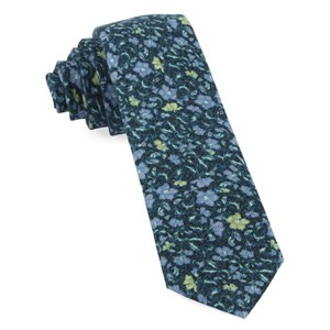 southey floral green teal ties