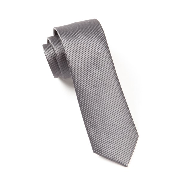 Charcoal Skinny Solid Tie