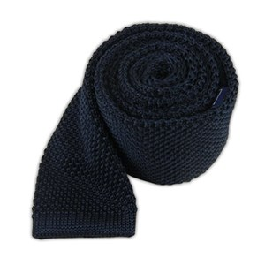 knitted midnight navy ties