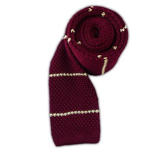 Knit Stripe Burgundy Tie