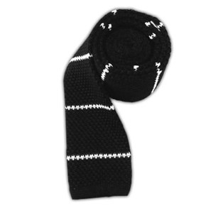 knit stripe classic black ties