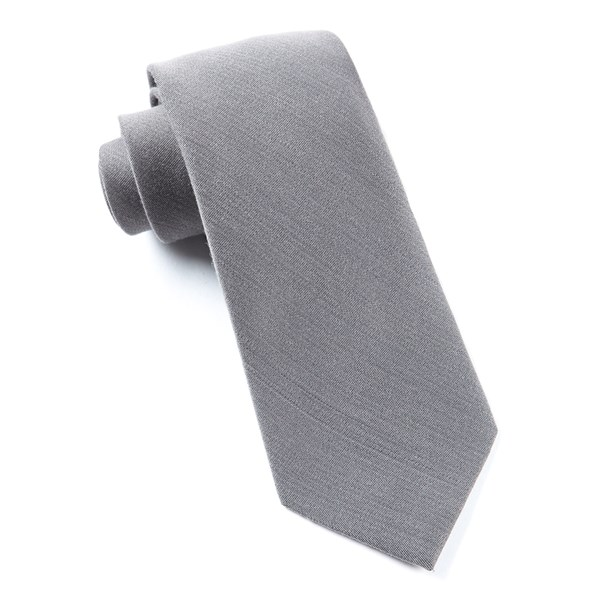 Grey Solid Wool Tie