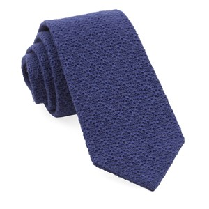 textured pointed knit navy ties