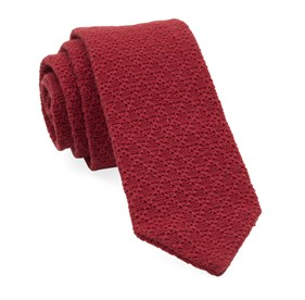 Red Textured Pointed Knit ties