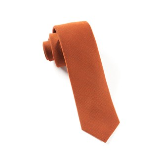 Solid Wool Burnt Orange Tie