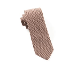 Brown Wool Herringbone ties