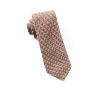wool herringbone brown ties