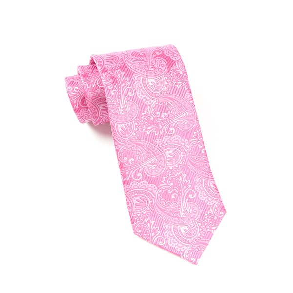 Pink Twill Paisley Tie